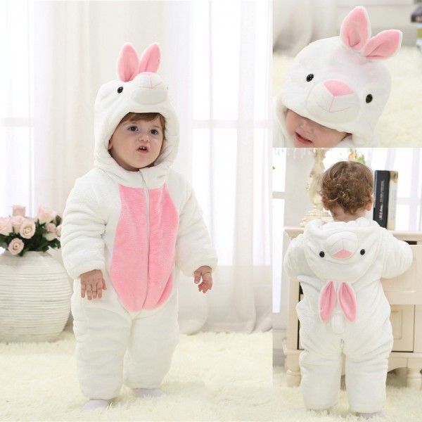 White Rabbit Onesie for Baby & Toddler Animal Kigurumi Pajama Party Costumes