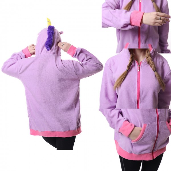 Purple Unicorn Hoodie Unisex Women & Men Animal Kigurumi Coat Jacket