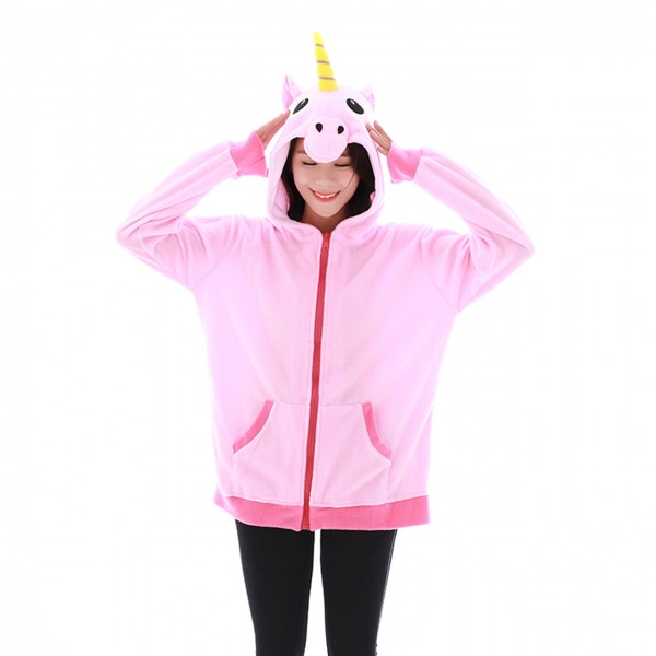 Pink Unicorn Hoodie Unisex Women & Men Animal Kigurumi Coat Jacket