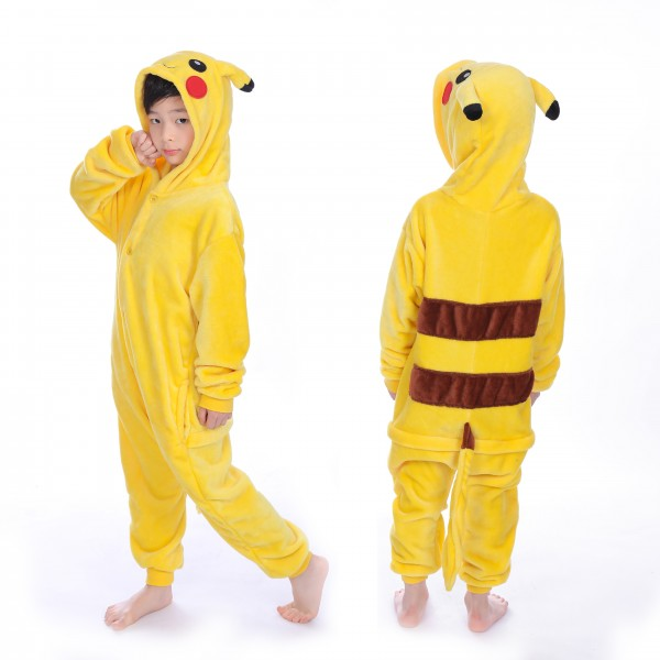 Pikachu Onesie for Kid Animal Kigurumi Pajama Pokemon Halloween Costumes