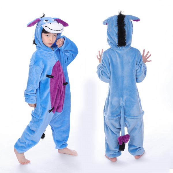 Eeyore Donkey Onesie for Kid Animal Kigurumi Pajama Party Costumes