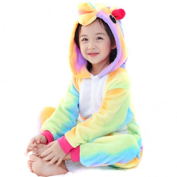 Rainbow Unicorn Onesie for Kid Animal Kigurumi Pajama Party Costumes