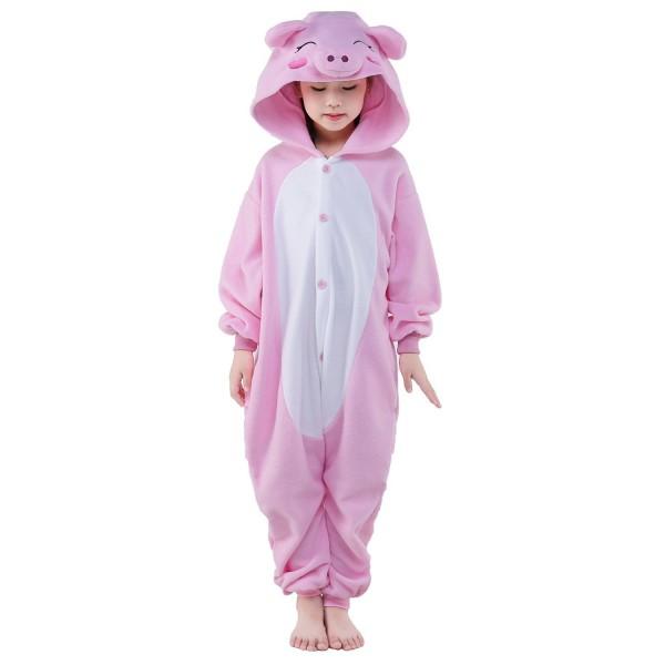 Pink Pig Onesie for Kid Animal Kigurumi Pajama Halloween Costumes