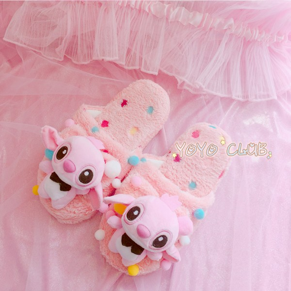 Blue Stitch And Pink Stitch Lilo Angel Slippers Animal Costume Shoes