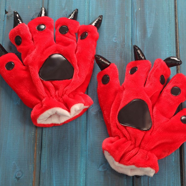 Red Kigurumi Unisex Onesies Animal Hands Paw Flannel Cartoon Gloves