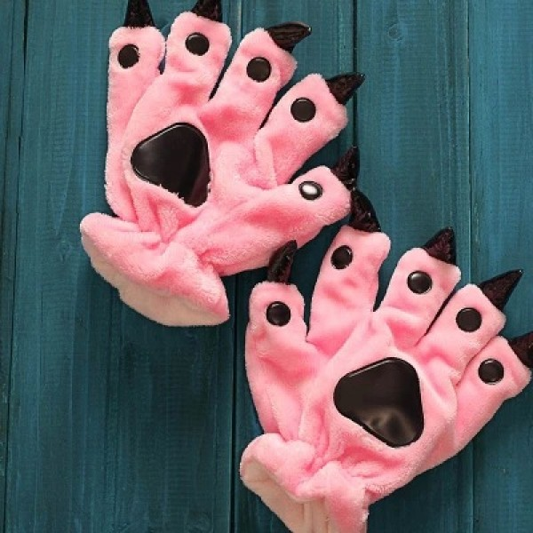 Pink red Kigurumi Unisex Onesies Animal Hands Paw Flannel Cartoon Gloves