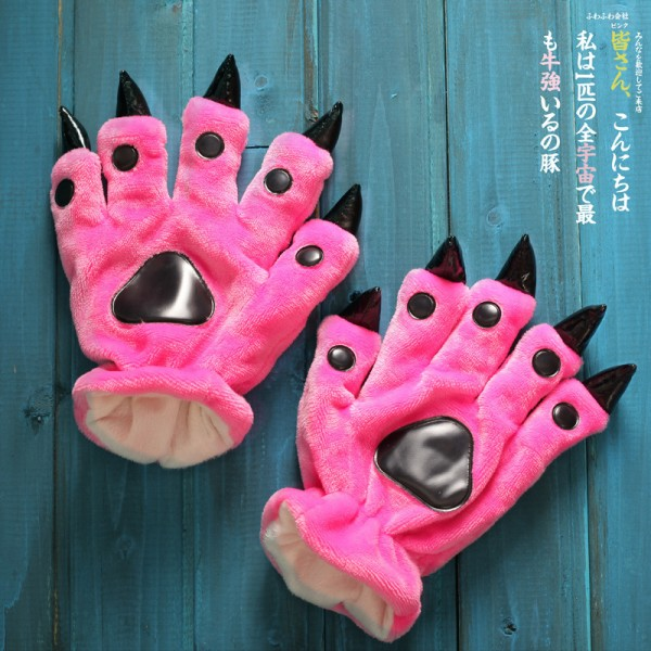 Rose red Kigurumi Unisex Onesies Animal Hands Paw Flannel Cartoon Gloves