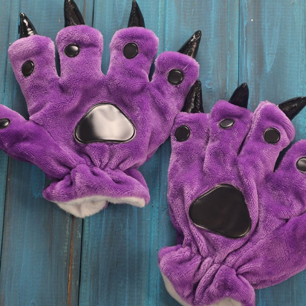 Purple Kigurumi Unisex Onesies Animal Hands Paw Flannel Cartoon Gloves