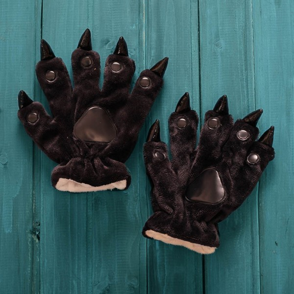 Black Kigurumi Unisex Onesies Animal Hands Paw Flannel Cartoon Gloves
