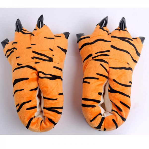 Tiger Pattern Unisex Plush Paw Claw House Slippers Animal Costume Shoes