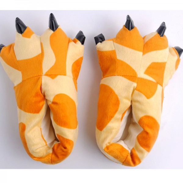Giraffe Pattern Unisex Plush Paw Claw House Slippers Animal Deer Patern Costume Shoes