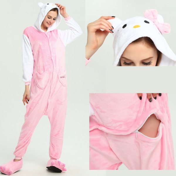 Pink Hello Kitty Onesie for Adult Animal Pajamas Kigurumi Party Costumes