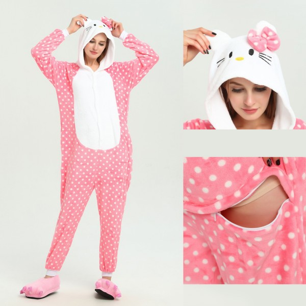 Pink Hello Kitty Onesie Unisex Women & Men Kigurumi Pajamas Party Costumes