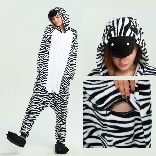 Zebra Onesie Animal Pajama for Adult Kigurumi Halloween Party Costumes