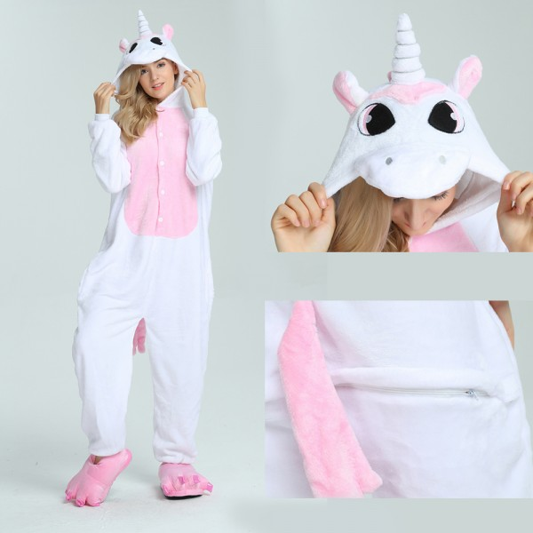 Pink Pegasus Onesie Animal Kigurumi Pajama for Adult Halloween Party Costumes