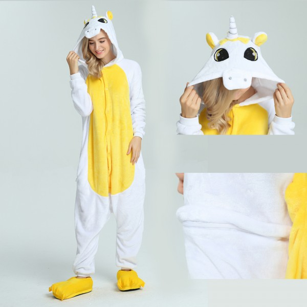 Yellow Pegasus Onesie Animal Kigurumi Pajama for Adult Halloween Party Costumes