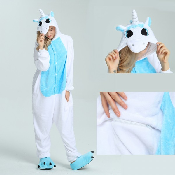Blue Pegasus Onesie Animal Kigurumi Pajama for Adult Halloween Party Costumes