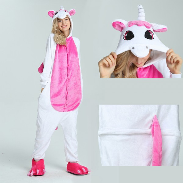 Rose Pegasus Onesie Animal Kigurumi Pajama for Adult Halloween Party Costumes