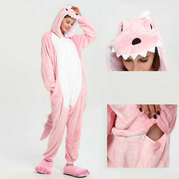 Pink Dinosaur Onesie Animal Kigurumi Pajama for Adult Halloween Party Costumes