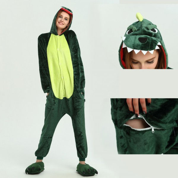 Green Dinosaur Onesie Animal Kigurumi Pajama for Adult Halloween Party Costumes