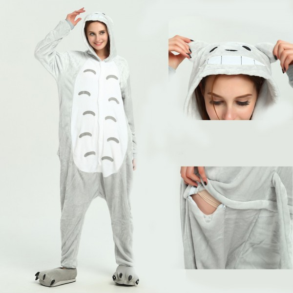Totoro Onesie Animal Kigurumi Pajama for Adult Halloween Party Costumes