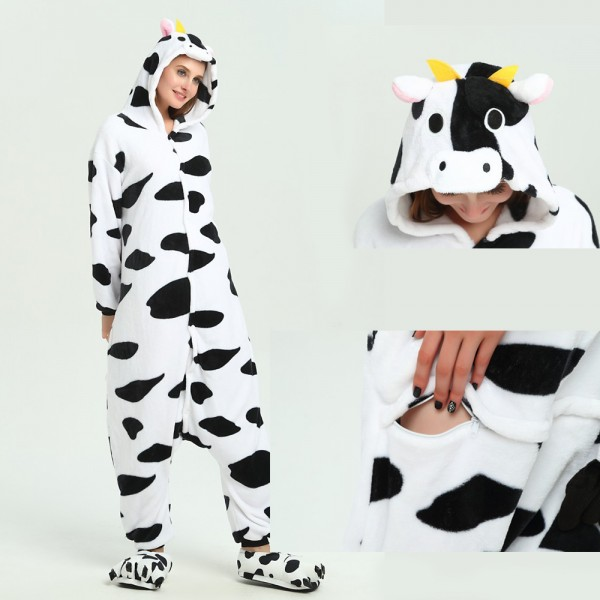 Cows Onesie Animal Kigurumi Pajama for Adult Halloween Party Costumes
