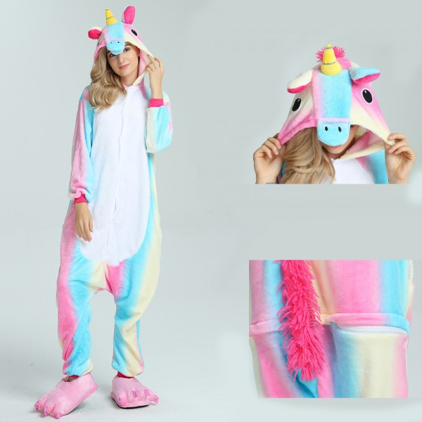 Colorful Unicorn Onesie for Adult Animal Pajama Kigurumi Halloween Party Costumes
