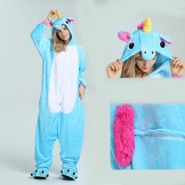 Blue Unicorn Onesie for Adult Kigurumi Pajama Halloween Costumes