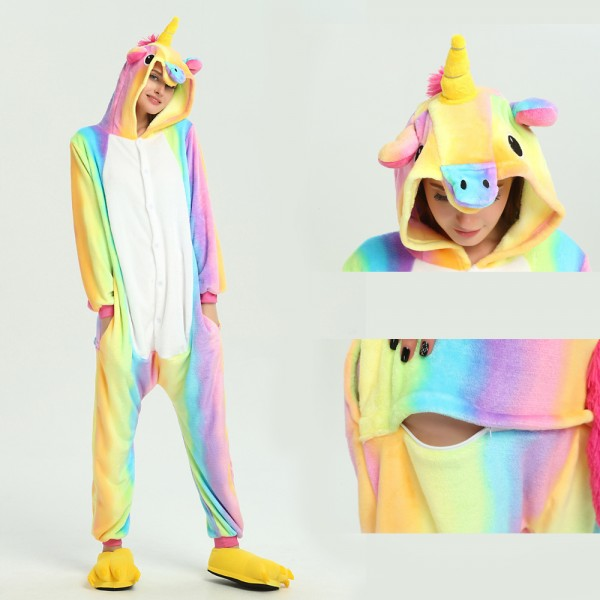 Rainbow Unicorn Onesie for Adult Kigurumi Pajama Halloween Costumes