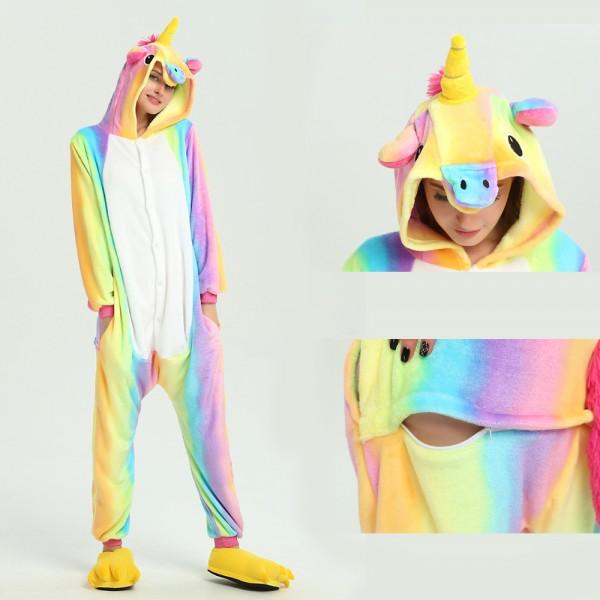 Rainbow Unicorn Onesie for Adult Kigurumi Pajama Halloween Costumes