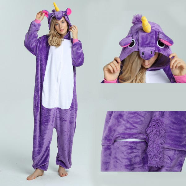 Purple Unicorn Onesie for Adult Kigurumi Pajama Halloween Costumes