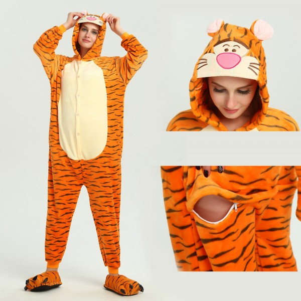 Winnie the Pooh Tigger Onesie for Adult Animal Kigurumi Pajama Halloween Party Costumes