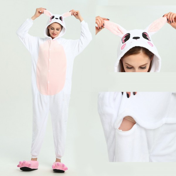 Pink Rabbit Onesie Animal Kigurumi Pajama for Adult Halloween Party Costumes