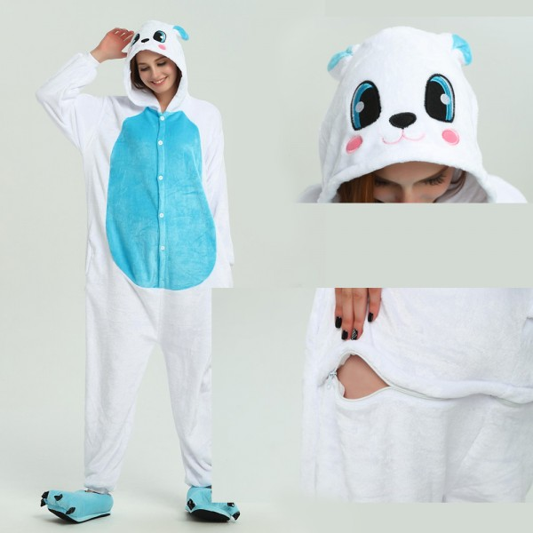 Blue Rabbit Onesie Animal Kigurumi Pajama for Adult Halloween Party Costumes