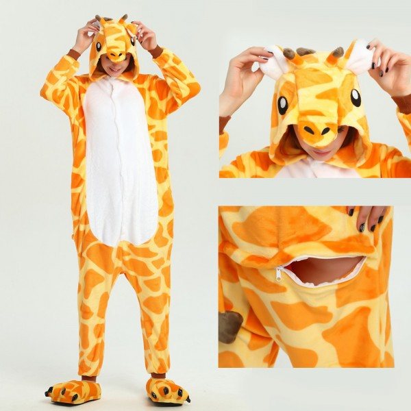 Giraffe Onesie Unisex Women & Men Animal Kigurumi Pajama Halloween Carnival Costumes