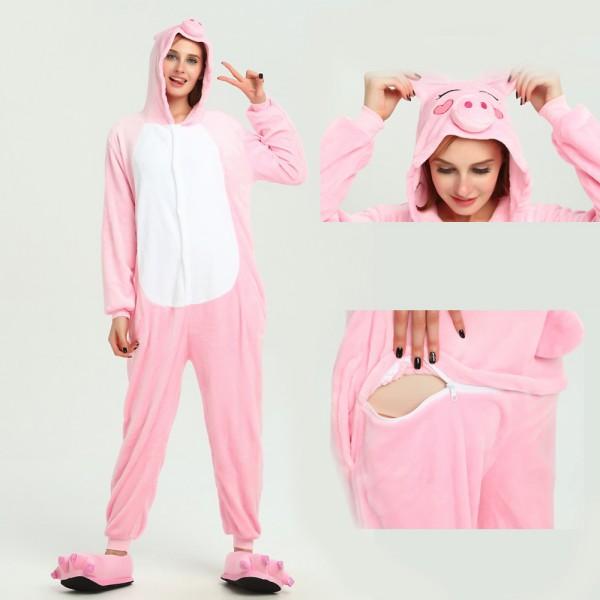 Pink Pig Onesie Unisex Women & Men Animal Kigurumi Pajama Halloween Carnival Costumes