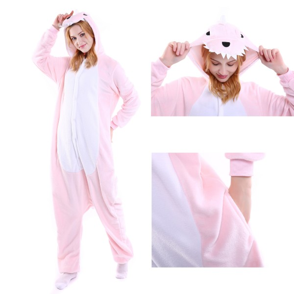 Pink Dinosaur Onesie Animal Kigurumi Pajama for Adult Halloween Costumes