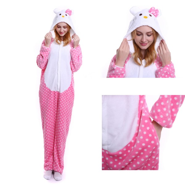 Hello Kitty Onesie for Adult Animal Pajamas Kigurumi Party Costumes
