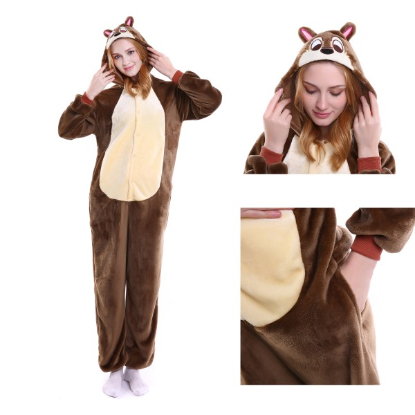 Chipmunks Onesie Animal Kigurumi Pajama for Adult Halloween Party Costumes