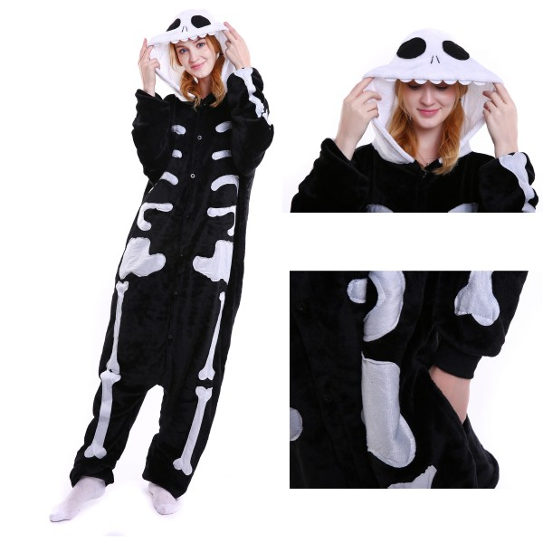 Skeleton Onesie Animal Kigurumi Pajama for Adult Halloween Party Costumes