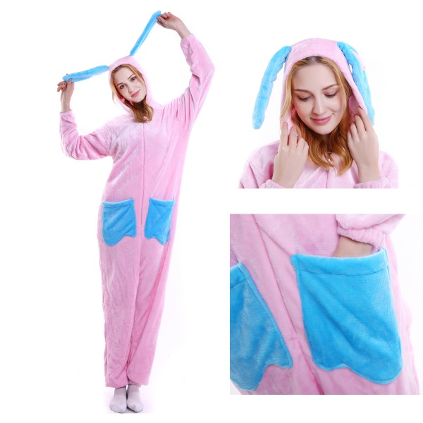 Pink Rabbit Onesie Animal Pajama Women & Men Halloween Party Costumes