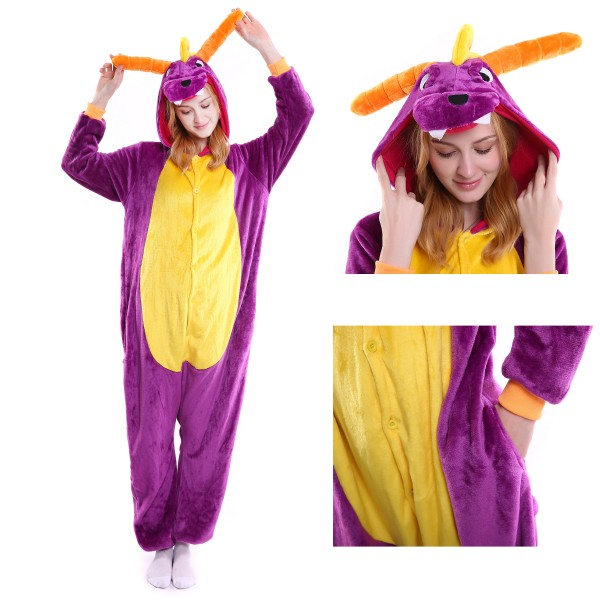 Purple Dragon Onesie Animal Pajama Women & Men Halloween Party Costumes