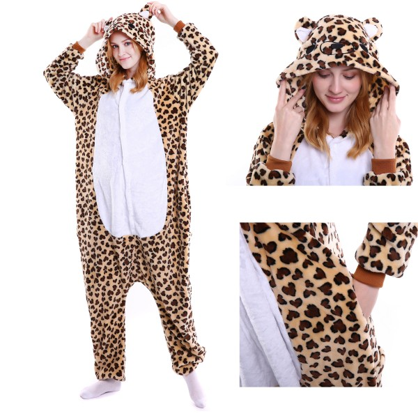 Leopard Bear Onesie Animal Kigurumi Pajama for Adult Halloween Party Costumes
