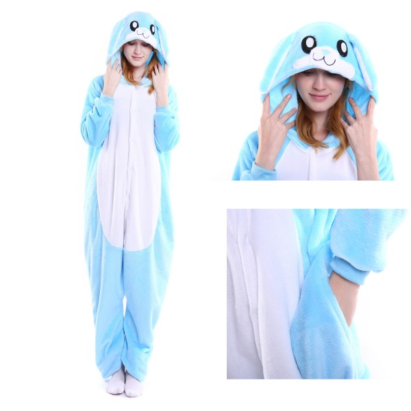 Blue Rabbit Onesie for Adult Animal Kigurumi Pajama Party Costumes