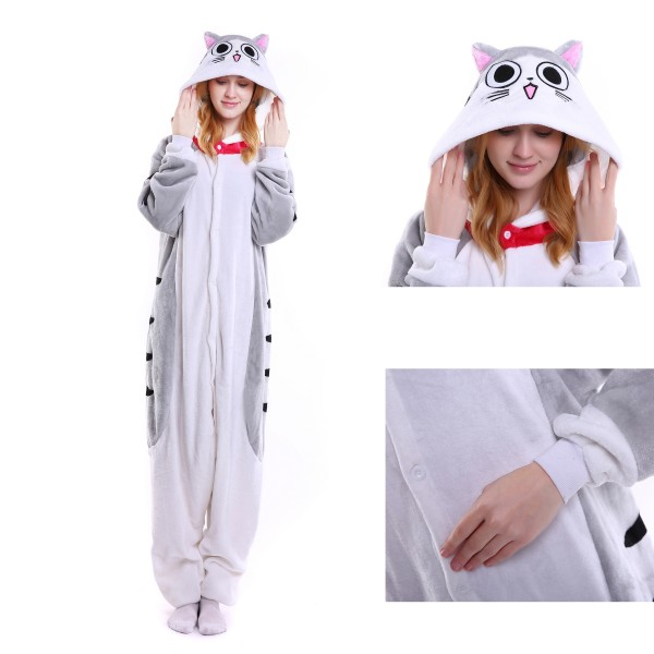 Cheese cat Onesie for Adult Kigurumi Pajamas Party Halloween Costumes