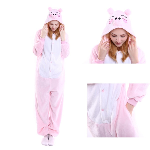 Pink Pig Onesie Unisex Women &Men Animal Pajama Kigurumi Party Halloween Costume