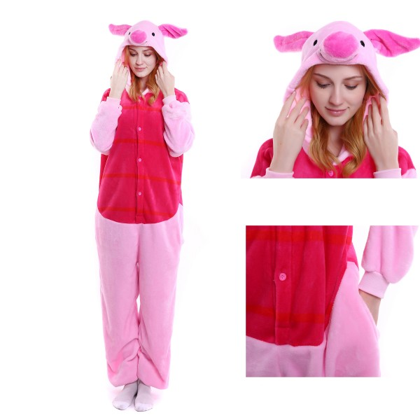 Winnie the Pooh Piglet Onesie Unisex Women & Men Kigurumi Pajama Party Costumes