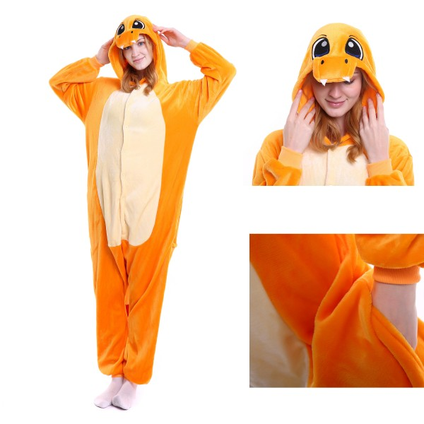 Charmander Onesie Unisex Women & Men Kigurumi Pajama Pokemon Party Costumes