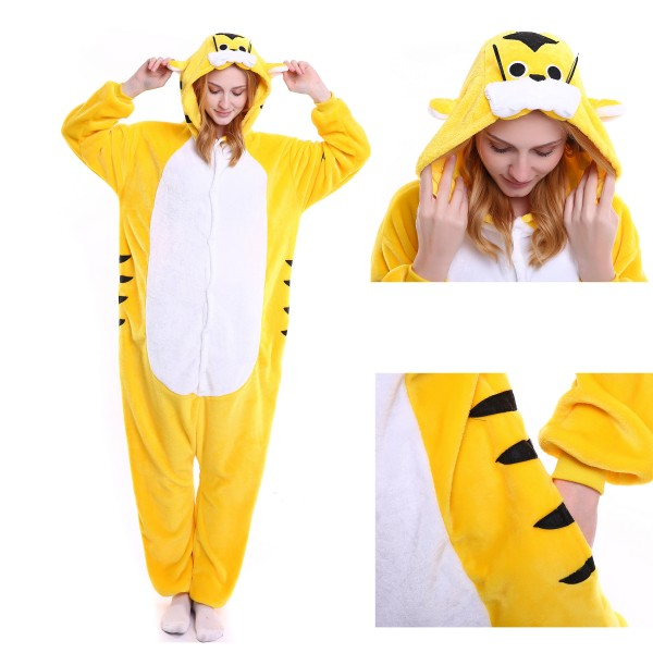 Yellow Tiger Onesie Animal Kigurumi Pajama Unisex Women & Men Halloween Party Costumes