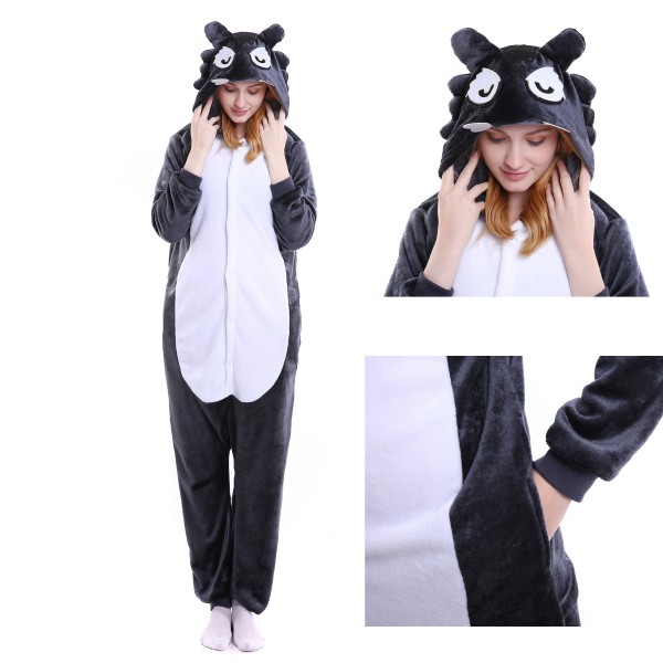 Wolf Onesie Animal Kigurumi Pajama Unisex Women & Men Halloween Party Costumes